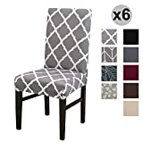 Conniecony Stretch Dining Chair Covers, Spandex Fabric Fit Washable Removable Short Dining Chair Protector Cover for Dining Room, Hotel, Ceremony,Banquet Wedding Party (Y-Gray, 6 per Set)