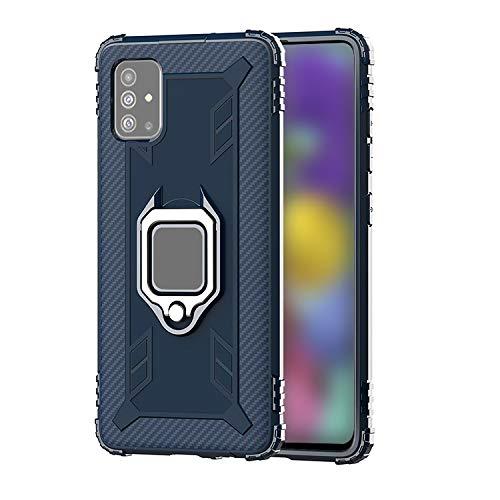 Galaxy A51 5G SC-54A/SCG07 ケース/カバー 耐衝撃 TPU カーボン調 かっこいい 片手持ちに便利なリング付き カバーギャラクシー A51 5G 頑丈 ソフトケース/カバー おしゃれ 一体型スマホリング付きスマートフォンケース/カ