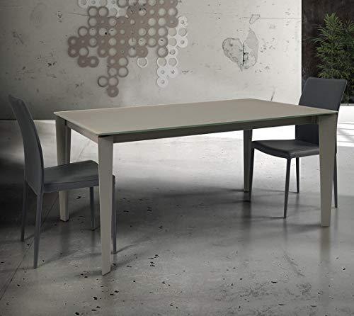 Milani Home s.r.l.s. Tavolo da Pranzo Moderno di Design Allungabile Cm 90 X 140/180/220 Tortora con Piano in Vetro per Sala da Pranzo Ristorante