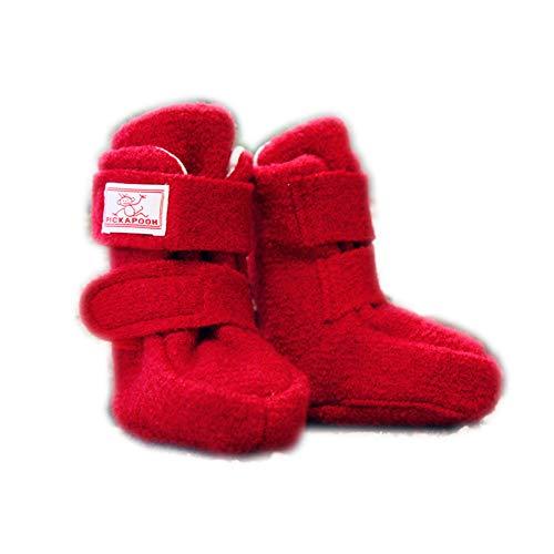PICKAPOOH warme Baby Puschen Krabbelschuhe aus Bio Wollwalk in rot mit Klettverschluss 6-9 Monate; Schuhgröße 21/23 - Mit Ledersohle