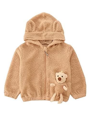 Toddler Casual Cute Hoodie Unisex Kids 3D Carton Bear Patch Cardigan Solid Color Long Sleeve Zipper Plush Tops (Khaki, 5-6 Years)