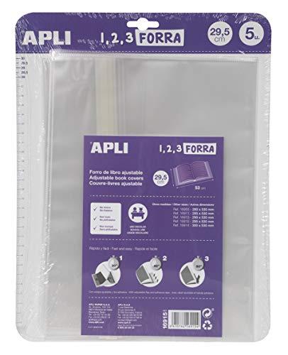 APLI 16915 - Forro de libros con solapa ajustable de polipropileno. Medida 29,5 x 53 cm, 75 µ. Pack de 5 u.