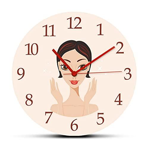 30 cm Reloj de Pared Hermosa Mujer Joven con Piel Impecable Reloj de Pared Redondeado acrílico Reloj para salón de Belleza SPA Cuidado de la Piel Decoración Relojes Colgantes