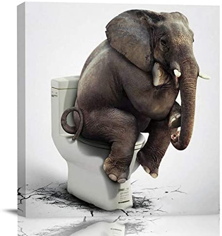 Chucoco Oil Paintings on Canvas Funny Elephant Sitting on the Toilet Abstract Wall Art Print product image