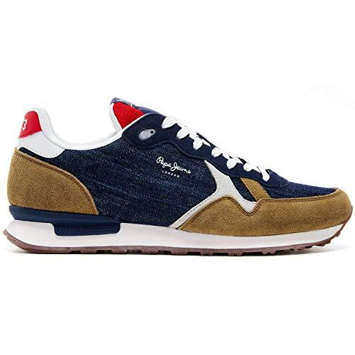 Pepe Jeans Herren Britt Man Denim Sneaker, 559DARK Denim, 44 EU
