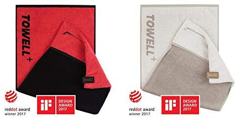 STRYVE Towell + | Sporthandtuch mit Tasche und Magnetclip, Bekannt aus Die Höhle der Löwen (2er Set Rot/Merino)