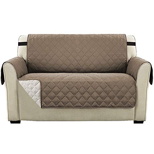 Sofa Slipcover 2 Seater Reversible Furniture Protector Covers, Water Resistant Loveseat Sofa Cover with Adjustable Elastic Straps, Seat Width Up to 46' Machine Washable (Loveseat: Taupe/Beige)