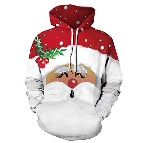 HJFR 2021 Nouveau Mode Noël Femme Blouse Automne et Hiver Sweat Pull Femme Manches Longues à Capuche Pullover T-Shirt Sweat Shirt Chemisier Manteau Chemisier décontracté Veste,Couples avec Même Pull