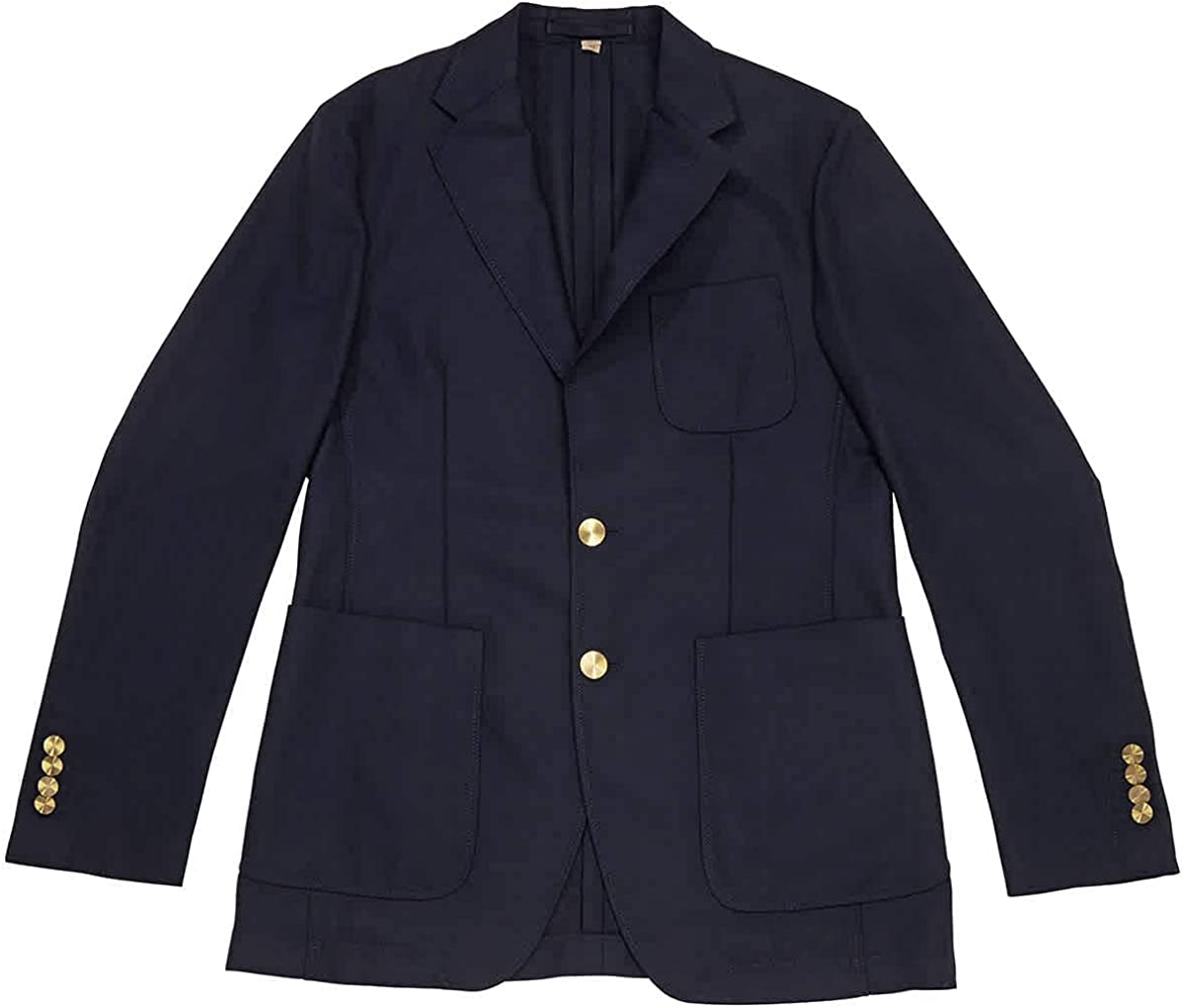 BURBERRY Men's Navy Stirling Wool Jacket, Brand Size 46R (US Size 36)