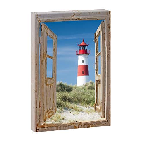 Bild auf Leinwand mit Fenster-Motiv Fensterblick Sylt Leuchtturm in den Dünen | 100 x 65 cm, Farbig, hoch, Wandbild, Leinwandbild mit Kunstdruck, Fensterblickbild auf Holzrahmen gespannt, 65x100 cm