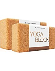 Yogablok set van 2 kurken 100% natuurlijk - Hatha Klotz ook voor beginners meditatie & pilates, fitnessaccessoires hulpmiddelen voor regeneratie, rug, rekoefeningen & bloktraining, twee blokken 65 mm