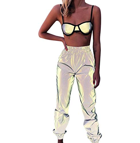 Tomatoa Damen Sporthose Freizeithose Reflektierende Traininghose Fitness High Waist Elastischer Bund Streetwear Hosen XS - XXL