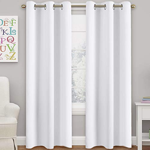 """Pure White Grommet Curtains Themal Insulated Nursery & Infant Care Curtains Each Panel 42"""" W x 84"""" L (Set of 2 Panels)"""