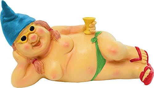 Brubaker weiblicher Gartenzwerg Frau Oben ohne 22 cm Zwergin nackt Figur Nudistin FKK