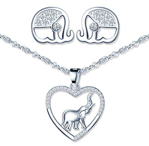 Conjuntos de joyas de plata 925, lindo collar de corazón de elefante para mujer, pendientes de elefante para niña, circón con incrustaciones, regalo de Navidad y cumpleaños