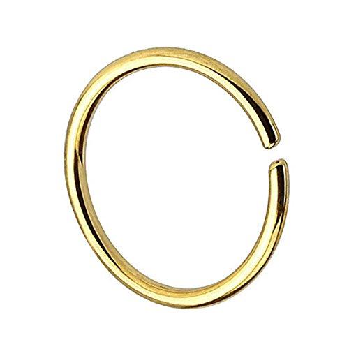 Piersando Continuous Piercing Chirurgenstahl Fake Hoop Ring für Septum Ohr Tragus Helix Nase Lippe Ohr Nasenpiercing Nasenring Gold 1,0mm x 8mm