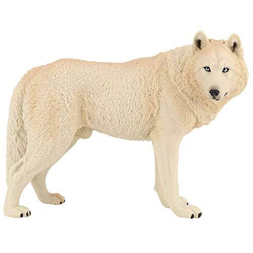 Tnfeeon Wolf beeldje speelgoed, simulatie wilde dieren model dierentuin dieren model actie wolf cijfers milieuvriendelijke plastic mini-decoratie voor kinderen educatie collectibles cadeau [grijs]