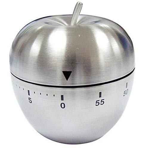 Xinlie Timer da Cucina Meccanico Conto alla Rovescia 60 Minuti Timer Cucina in Acciaio Inox Allarme Rotante a Forma di Mela Utensile da Cucina Contaminuti Promemoria Cottura