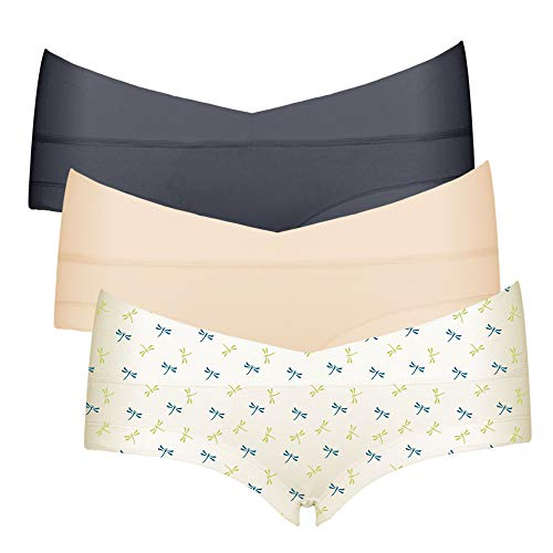 Intimate Portal Femme Petite Culottes Berceau de Maternité et Grossesse Boxer Shorties sous-vêtements en Coton 3 Lot Gris Beige Libellule 2XL