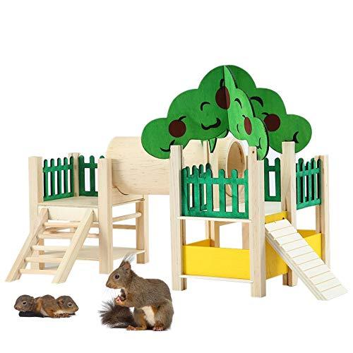 Hamsterhaus Aus Holz, Hamster Natural Living Haus, Nager-Holzhaus,Hamster Labyrinth Haus Spielzeug, Käfig Zubehör, Niedlich Gründach Mit Treppen, Versteck Mit Gewölbtem, Hamster Living Spiel Häuschen