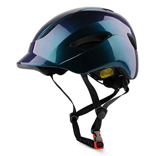 SUNRIMOON Adult Skateboard Helmet Men Women - Adjustable Size Scooter Helmet, LED Tail Light for Recreational Cycling Road Cycling Roller Skate Inline Skating Longboard E-Bike