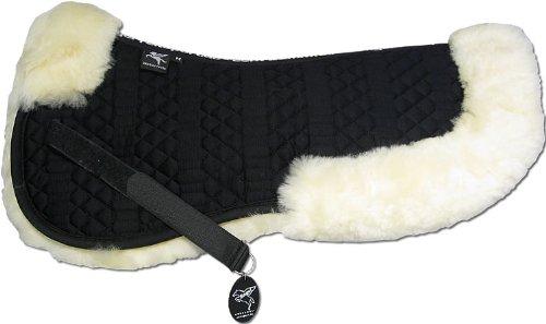Engel Reitsport Lammfell Sattelkissen SAKIS2-L-SCH-MED mit Fellrand vorne und hinten Steppstoff schwarz Fell med. Grösse L
