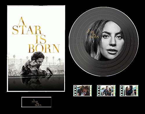 Lady Gaga - Display CD effetto vinile nero o oro con 3 pellicole, Layout senza cornice 1, Black Disc, A Star Is Born Unframed