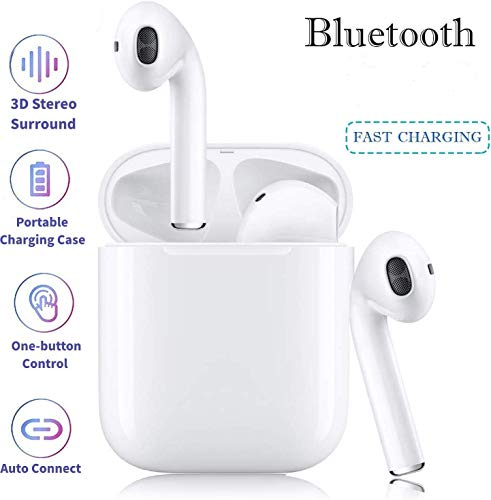 Bluetooth Kopfhörer, in Ear Bluetooth 5.0 Headset 3D Stereo-Minikopfhörer Sport Kabellose Kopfhörer mit Portable Mini Ladekästchen, für Android iPhone