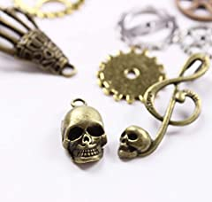 BIHRTC 140 Gram (Approx 92pcs) DIY Assorted Color Antique Metal Steampunk Watch Gear Cog Wheel Skull Musical Note Skull Hand Safety Pin Charms Pendant for Crafting, Jewelry Making Accessory #3