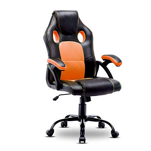 Gaming Chair High Back Computer Chair Office Chair Racing Executive Ergonomic Adjustable Swivel Task Chair Leather Desk Chair Orange-1
