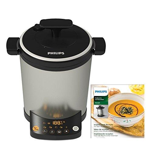 Philips HR2206/80 Mix & Cook Multikocher (1000 W, 14 Programme, Puls- und Mixerfunktion) silber/schwarz