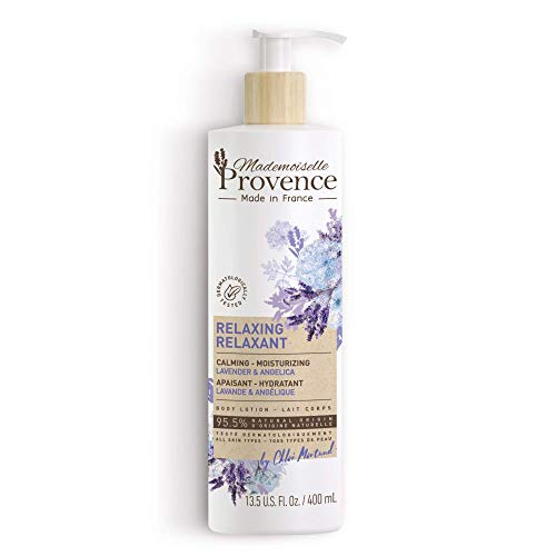 Mademoiselle Provence Natural French Lavender Body Lotion with Angelica Extracts | Luxurious Relaxing and Soothing Body Cream with Sunflower Seed Oil | Calming Vegan Moisturizer (13.5 fl oz)