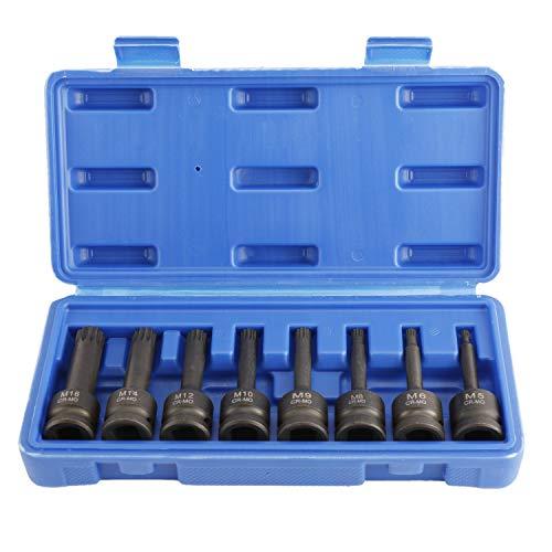 HighFree 8 Piece 1/2 inch Drive XZN Triple Square Spline Driver Impact Socket Set, Impact Grade Cr-Mo Steel Metric (M5 - M16)