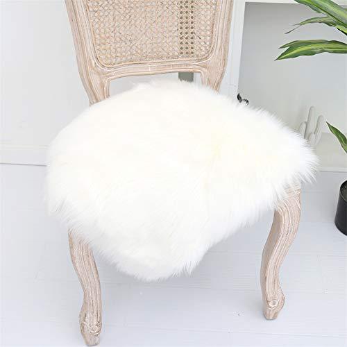 Martin Kench Faux Lammfell Sitzkissen, Schaffell Sitzauflage Longhair Fell Optik Nachahmung Wolle Sofa Matte (Weiß,50 x 50 cm)