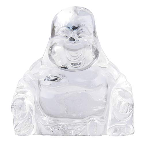 June&Ann Rock Quartz Pocket Happy Buddha Statue, Laughing Happy Buddha Feng Shui Figurine Healing Crystal Gemstone Home Decoration for Wealth and Good Luck - 2'