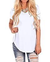 Women Tee Shirts White Cotton Short Sleeve T Shirt Tops V Neck Blouses S