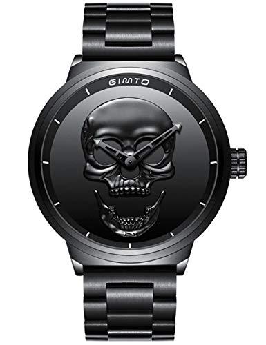Reloj de pulsera para hombre, de acero inoxidable, negro, con diseño de calavera en 3D y de calidad