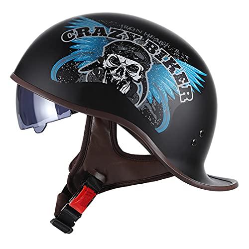 バイクヘルメット オートバイ 半帽バイク ハーフ 半帽 ヘルメット ハーレー 半帽 ヘルメット メンズ レディース 半キャップ ヘルメット 人気品 最新の流行 ダックテール ヘルメット 超軽量 半キャップ ヘルメットバイク できる複数の色 (B3, L)