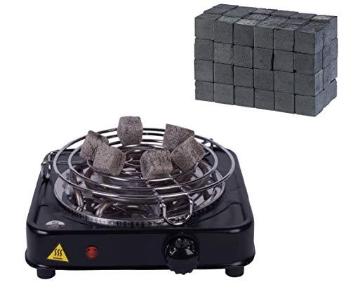 DIAMOND HOOKAH Shisha Kohleanzünder elektrisch für Shisha Kohle + 1kg Kohle - 5 Stufen Hitze, Kohlen Ofen, Kohlenanzünder elektrisch - 1000 Watt