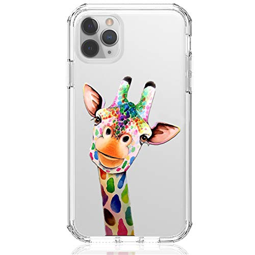 HUIYCUU for iPhone 12/12 Pro 6.1' Case, Shockproof Anti-Slip Cute Rose Animal Print Clear Design Pattern Funny Slim Crystal Soft Bumper Girl Women Cover Case for iPhone 12 Pro, Giraffe