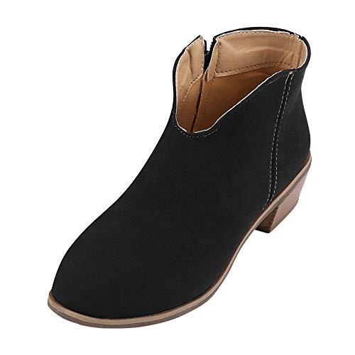 Botines Mujer Tacon Ancho Ante Cuero Tobillo Botas Piel Ankle Boots Retro con Cremallera Zapatos de Punta Redonda Moda Comodos Otoño Invierno Botas Cortas riou