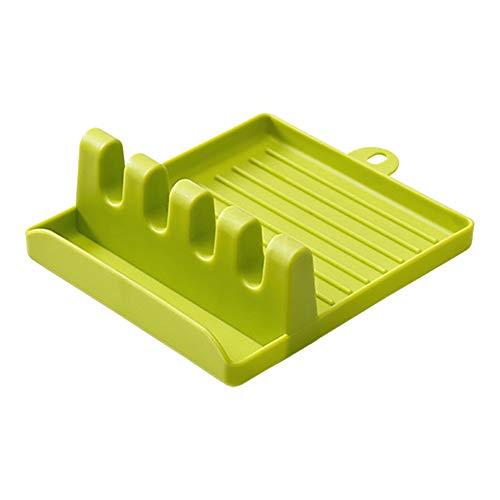 Muskmelon Plastic Kitchen Pot Pan Lid Cove,Kitchen Utensil Rest Ladle Spoon Holder,Multifunction Kitchen Spatula Rack Non-Slip Silicone,Mat Plastic Stand ome Cutting Board Rack Holder (Green)