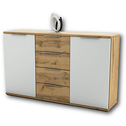 Capri Schlafzimmer Kommode in Wildeiche Optik, Weiß - modernes & ausdrucksstarkes Softclose Sideboard für Ihr Schlafzimmer - 150 x 90 x 38 cm (B/H/T)