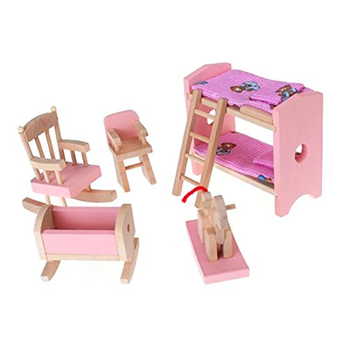Apofly 1Set Miniature Wooden Furniture Set Include Bunk Bed Chair Cradle Kid Children Gift Doll House Mini Furniture Toy