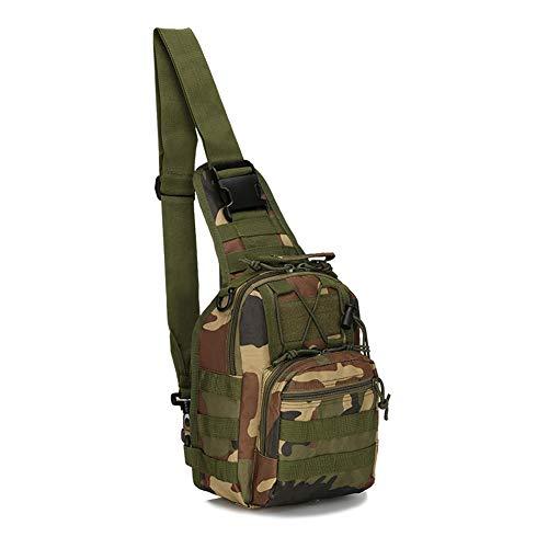 LiliChan Militärische Taktische Schultertasche Wasserdicht Wandern Trekking Rucksack Sport Klettern Umhängetaschen Angeln Outdoor Brust Rucksack (Jungle camouflage)