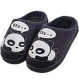 Zapatillas de Estar por Casa para Niñas Niños Otoño Invierno Zapatillas Mujer Hombres Interior Caliente Suave Dibujos Animados Panda Zapatos Negro 37/38 EU = 38/39 CN