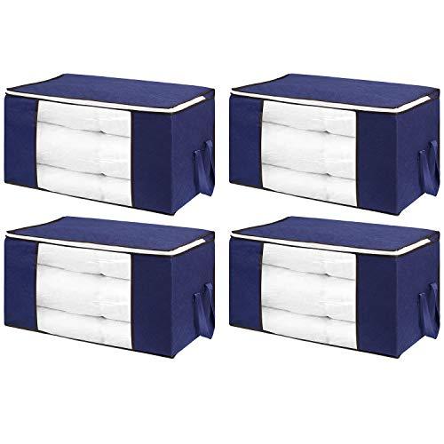 flintronic® Bolsa de Almacenamiento, 4PCS Bolsas Plegables de Ropa, Bolsas 84L con Cremallera a Prueba de Moho y Humedad para Ropa de Cama, Edredones, Mantas etc - Azul
