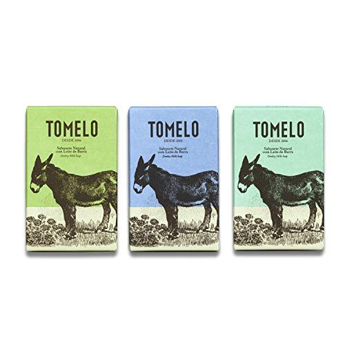 TOMELO -Pack de 3 Jabones Naturales con Leche de Burra- Gel Sólido en Pastilla de 150 g para Limpieza de Manos, Rostro y Cuerpo - Incluye las variedades de Aceite, Lirio y Limón