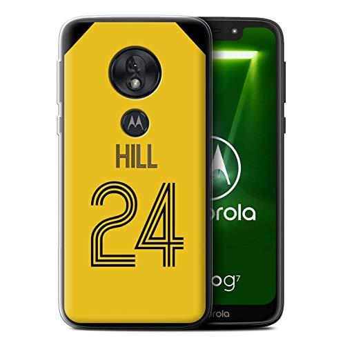 Personalisiert Individuell Fußball Vereine Trikots Kit Gel/TPU Hülle für Motorola Moto G7 Play/Gelb Schwarz Design/Initiale/Name/Text Schutzhülle/Case/Etui