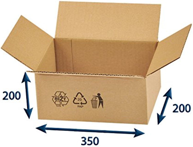 100 x Versandkartons (Faltschachteln, Faltkarton, Wellpappkarton, Wellpappfaltkarton, Kartons), 3-Sicht, 350x200x200mm B01DOD7ZOS    | Günstige